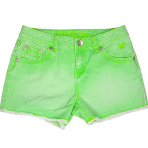 Justice 12 Simply Low Denim Shorts Neon Green